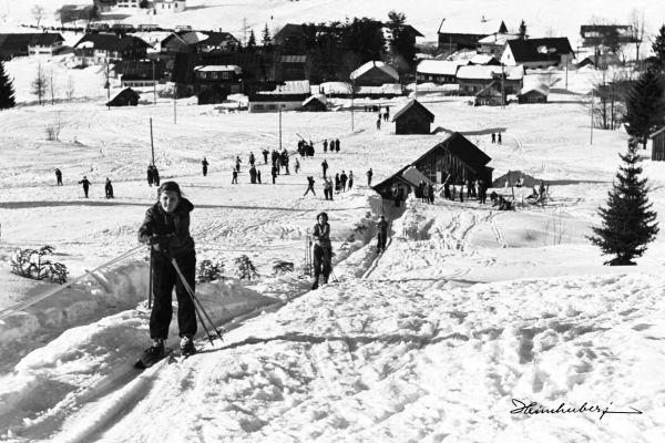 Gebhardtlift 1951 | Skifahrer, Leinwandbilder und Schwarz weiß
