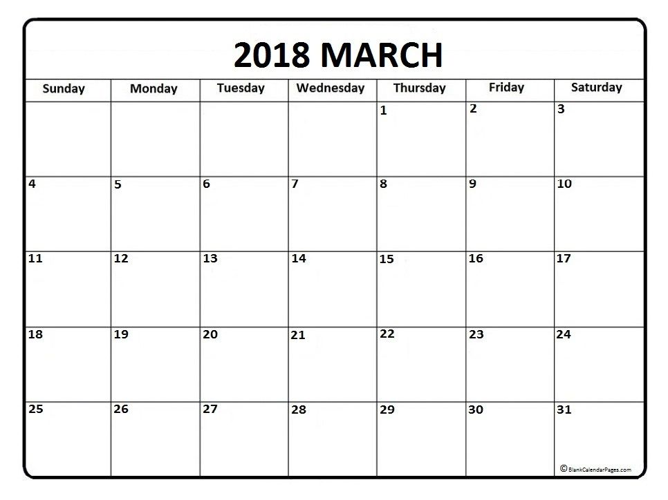 March Calendar 2018 Printable And Free Blank Calendar Calendar Printables November Calendar March Calendar Printable