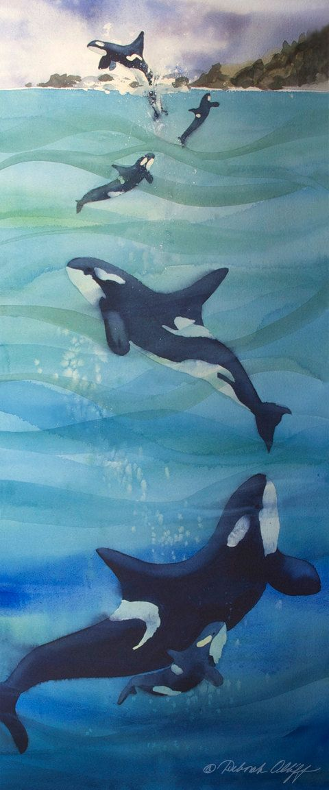 Ascending // Whale // Watercolor // Orca // Ocean by OlliffStudio