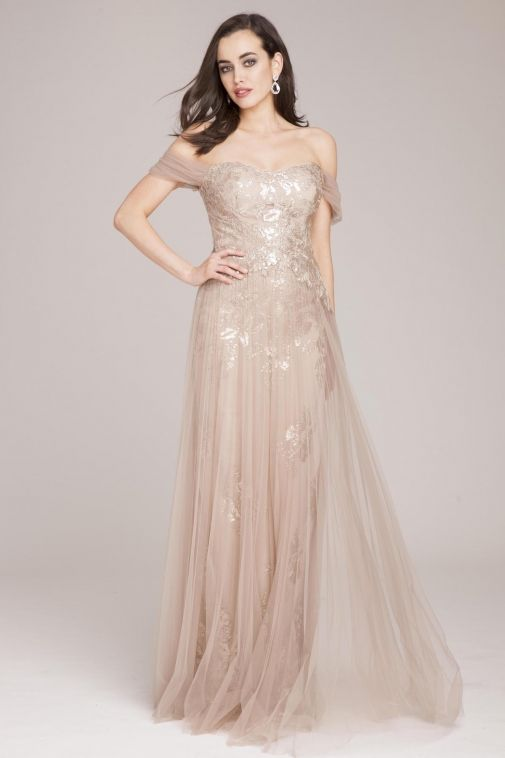 7f74f9b190 Teri Jon by Rickie Freeman Tulle Pleat Gown with Sequin Appliques ...