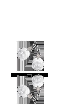 Camélia earrings in 18k white gold, white agate and diamonds. CAMÉLIA CHANEL