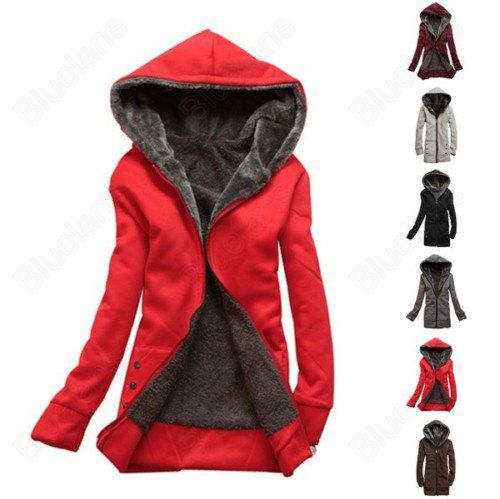 Free Shipping Womens Thicker Hoodie Sweater Hooded Zipper Over Coat Fleece Zip Outerwear