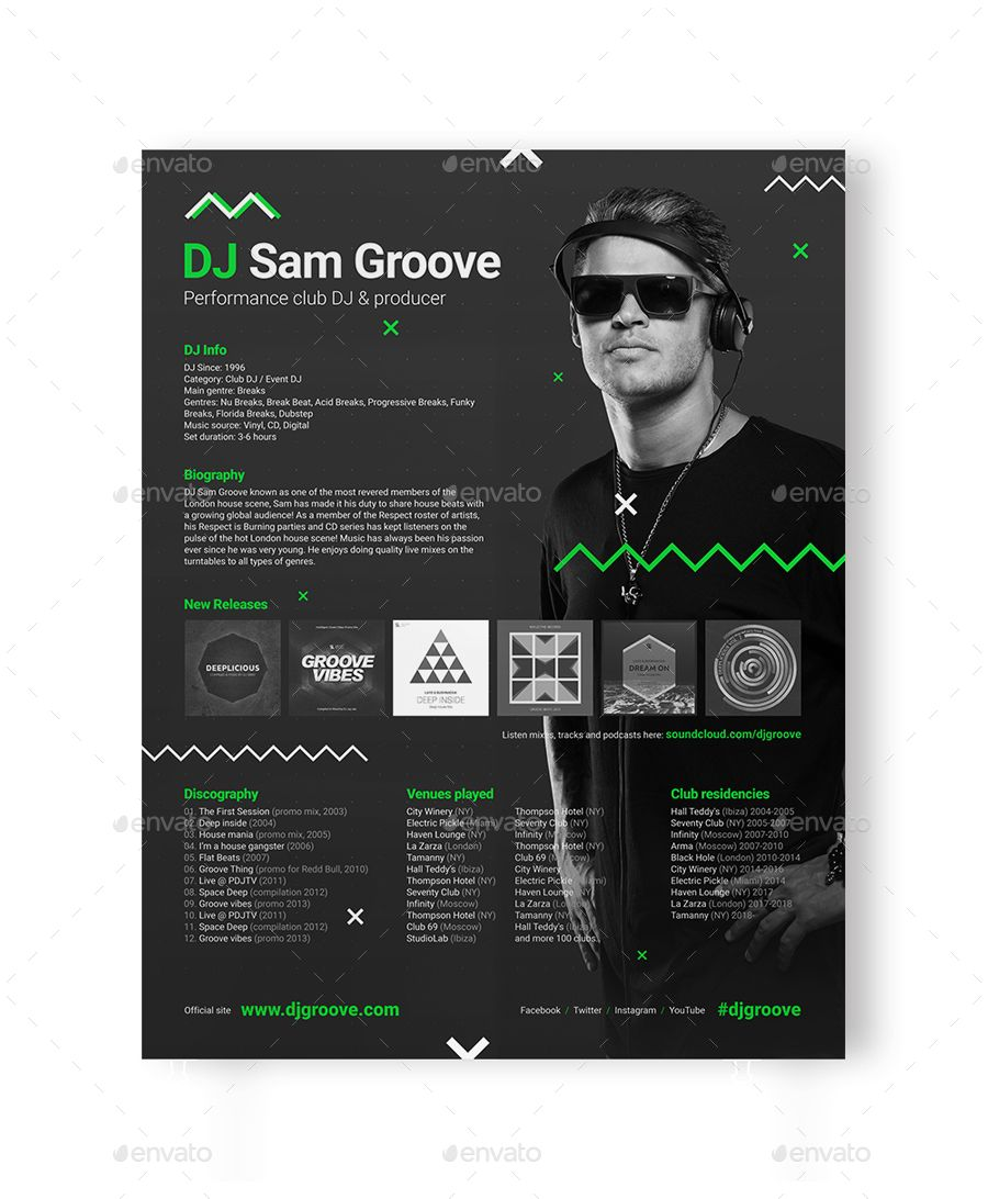 Press Kit For Artist Grooveline Dj Press Kit Dj Resume Dj Rider Psd Template