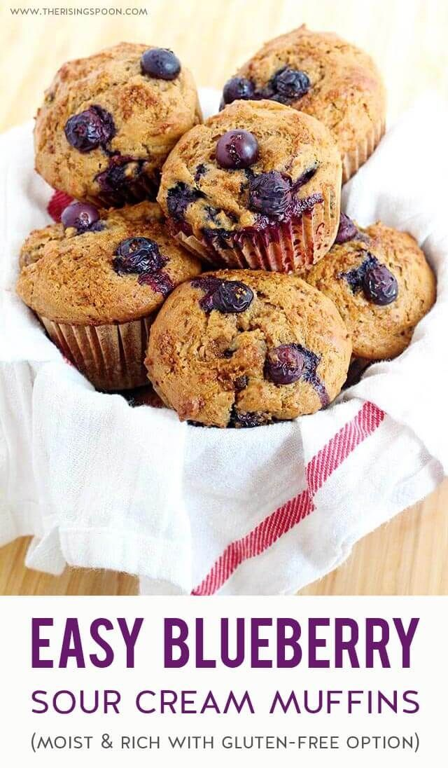 Blueberry Muffins with Sour Cream A simple recipe for Blueberry Muffins that are tender, rich, slightly sweet & bursting with fresh blueberries. Extra sour cream & oil helps to keep the muffins moist, while cinnamon, vanilla & lemon zest adds a wonderful fragrance & flavor. You'll have a hard time waiting for these to cool before devouring several! (Gluten-Free Option)