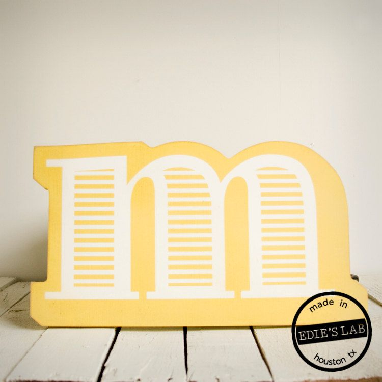 Wood M Letter Wall Decor Screen Printed Painted Yellow. Etsy. | I <3 ...