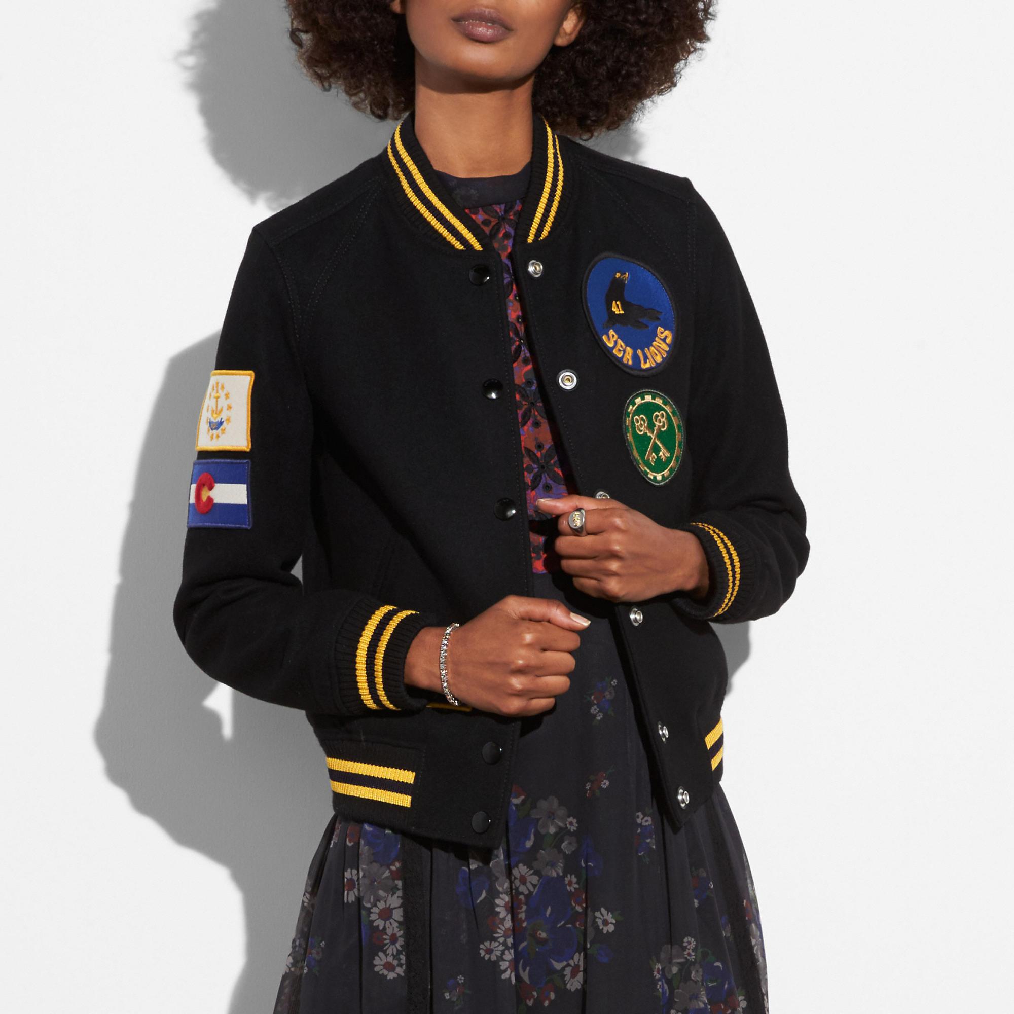 Coach Military Patch Varsity Jacket In Black Varsity