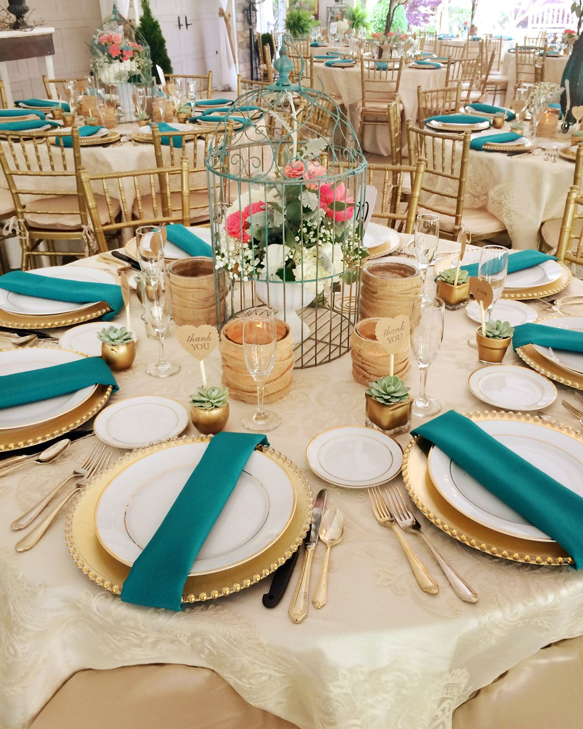 Perfectly Shabby Chic Burlap Gold Teal Wedding From Prime Time Party Al