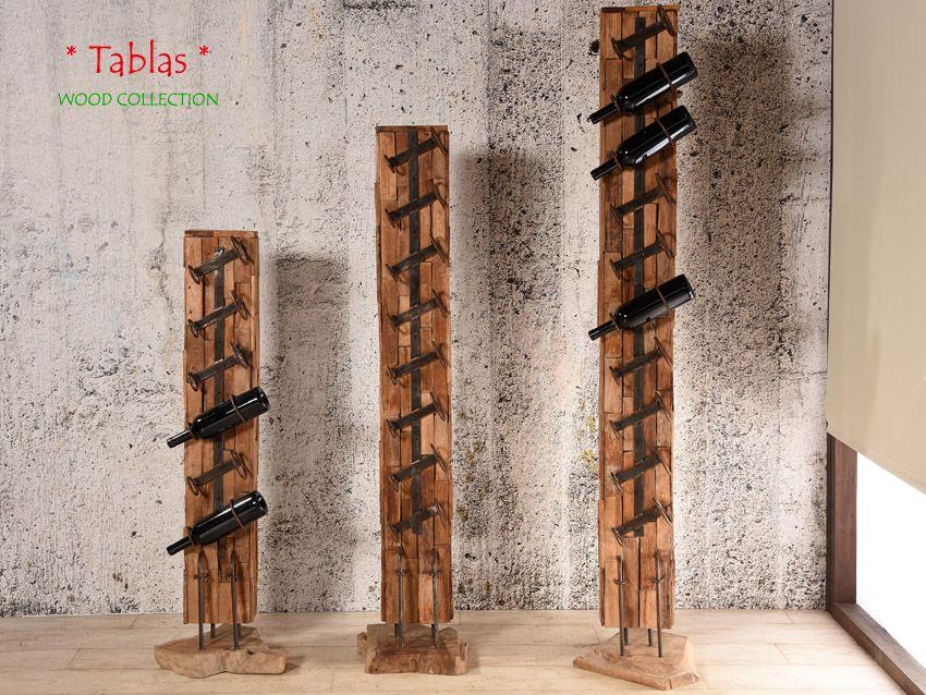 TABLAS Designer Weinflaschenständer - Weinregal aus Teakholz - 6 Flaschen   WOOD…
