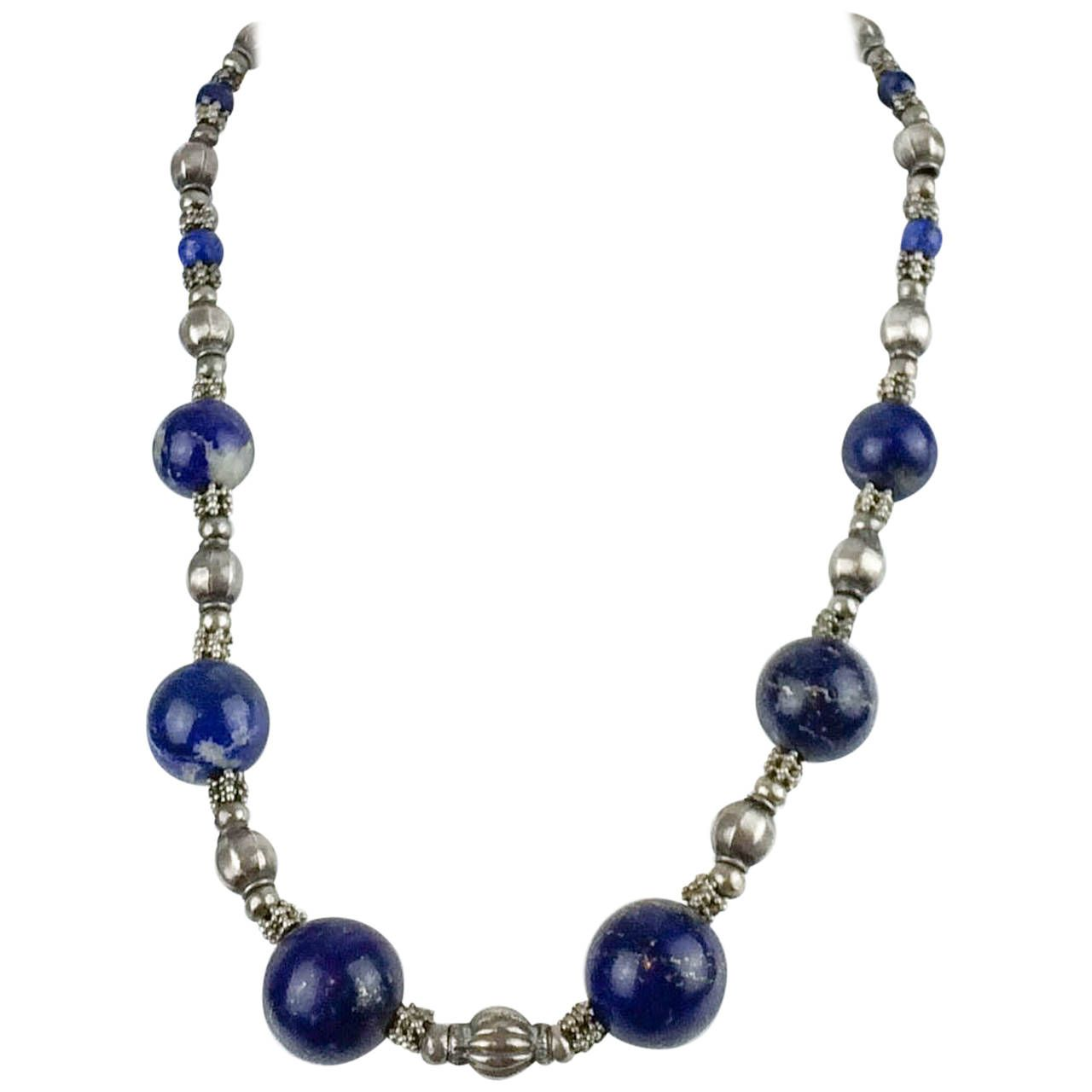 Silver and Lapis Lazuli Necklace - 1970s | From a unique collection of vintage beaded necklaces at https://www.1stdibs.com/jewelry/necklaces/beaded-necklaces/