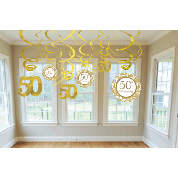 Swirls with cutouts 50th anniversary decorations 12ct for Room decoration ideas for 50th birthday