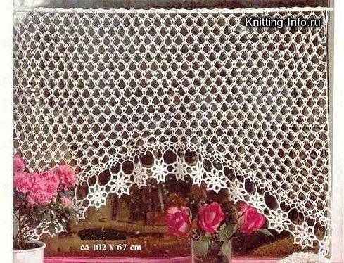 Crochet Knitting Handicraft: Curtains with charts. Lots of beautiful curtains in different language.