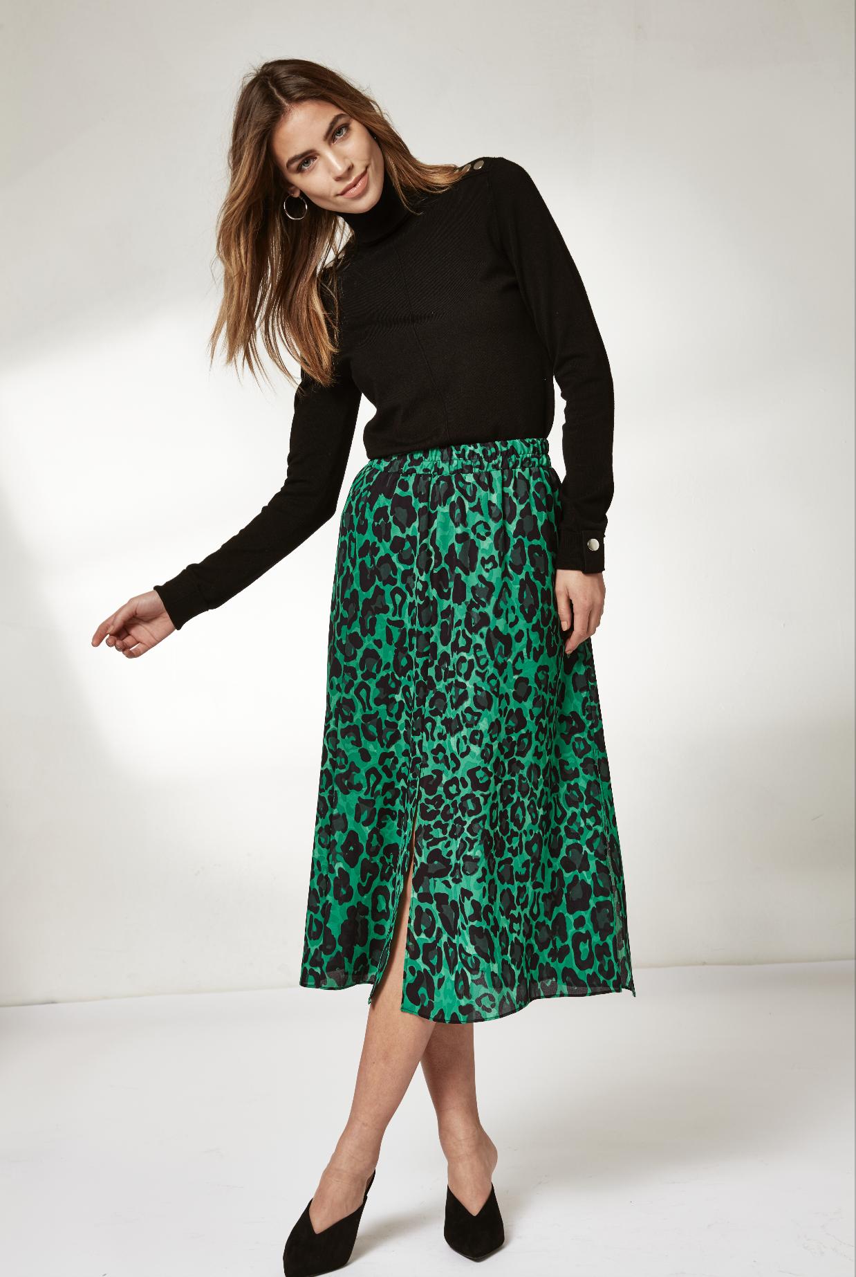 Green Leopard Print Split Hem Midi Skirt Animal print