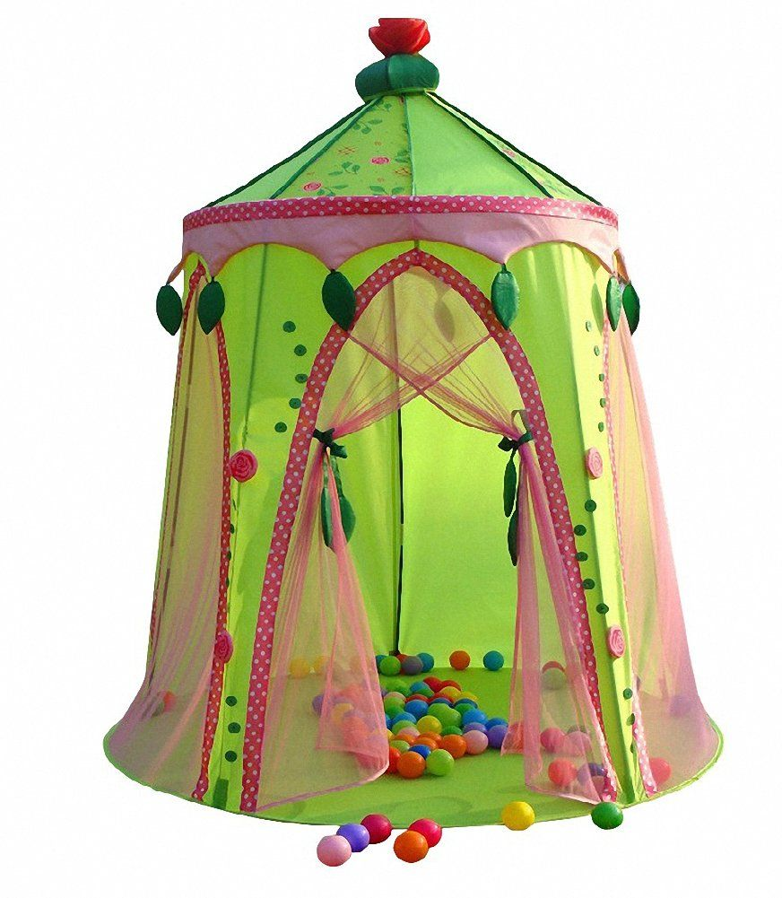 Dream House Foldable Pop up Princess Play Tent Green Top Rose Fairy Castle Tent Kids Playhouse  sc 1 st  Pinterest : princess castle pop up tent - memphite.com