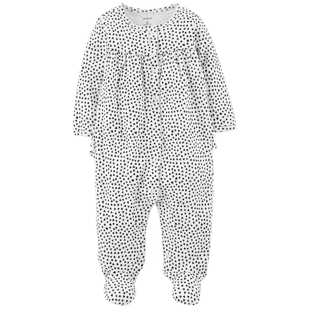 aec3e813688fd Baby Girl Carter's Heart Print Sleep & Play, Size: 6 Months, White