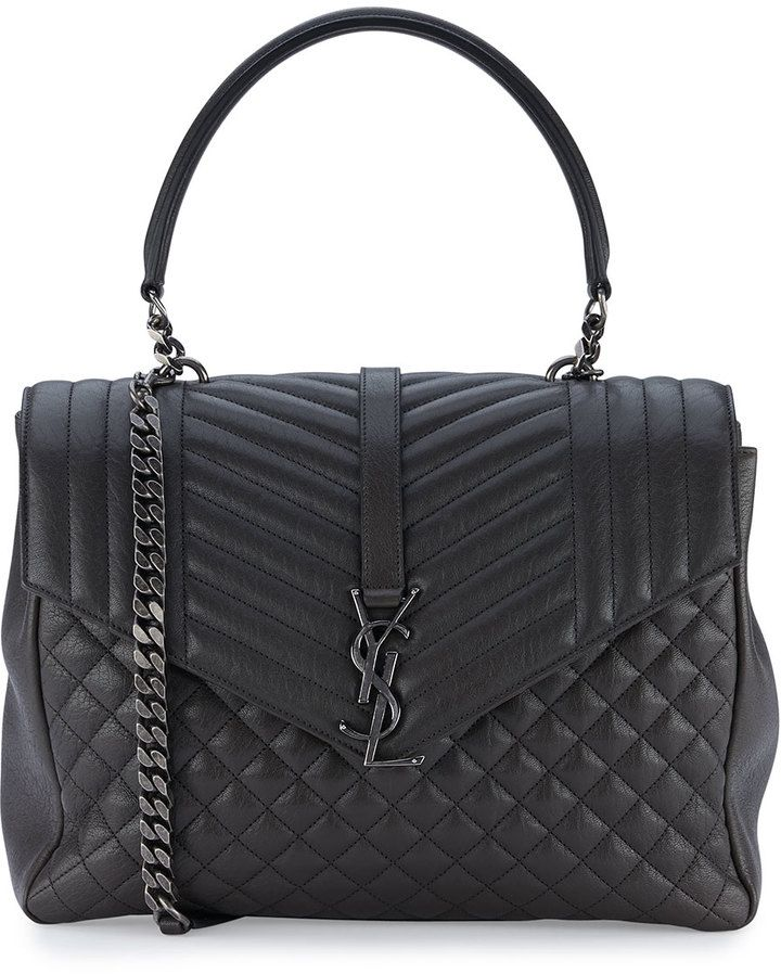 Saint Laurent Monogram Large Tri-Quilt College Shoulder Bag, Dark Gray 8e2cc17893