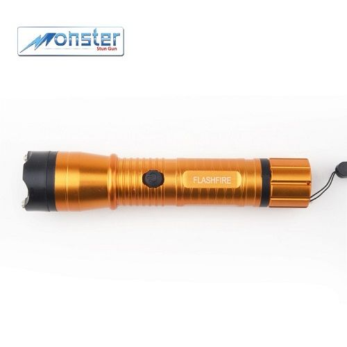Flashfire Flashlight Stun Gun – Orange Bright LED flashlight combined with a 16,000,000 volt stun gun. The Monster Flashfire emits a loud spark from the 4 prongs atop its head to scare off assailants. If the were to come to close the dual sparks require a simple touch to send the 16M volts through their body, causing muscle contractions or even complete disorientation and loss of muscle control. This flashlight is made of a durable lightweight aluminum.  Monster Flashfire Rechargeable Stun…