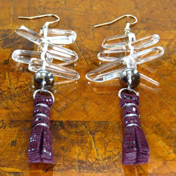Leather Tassels/ Burgundy Earrings/ Spike por ChandraJewelry
