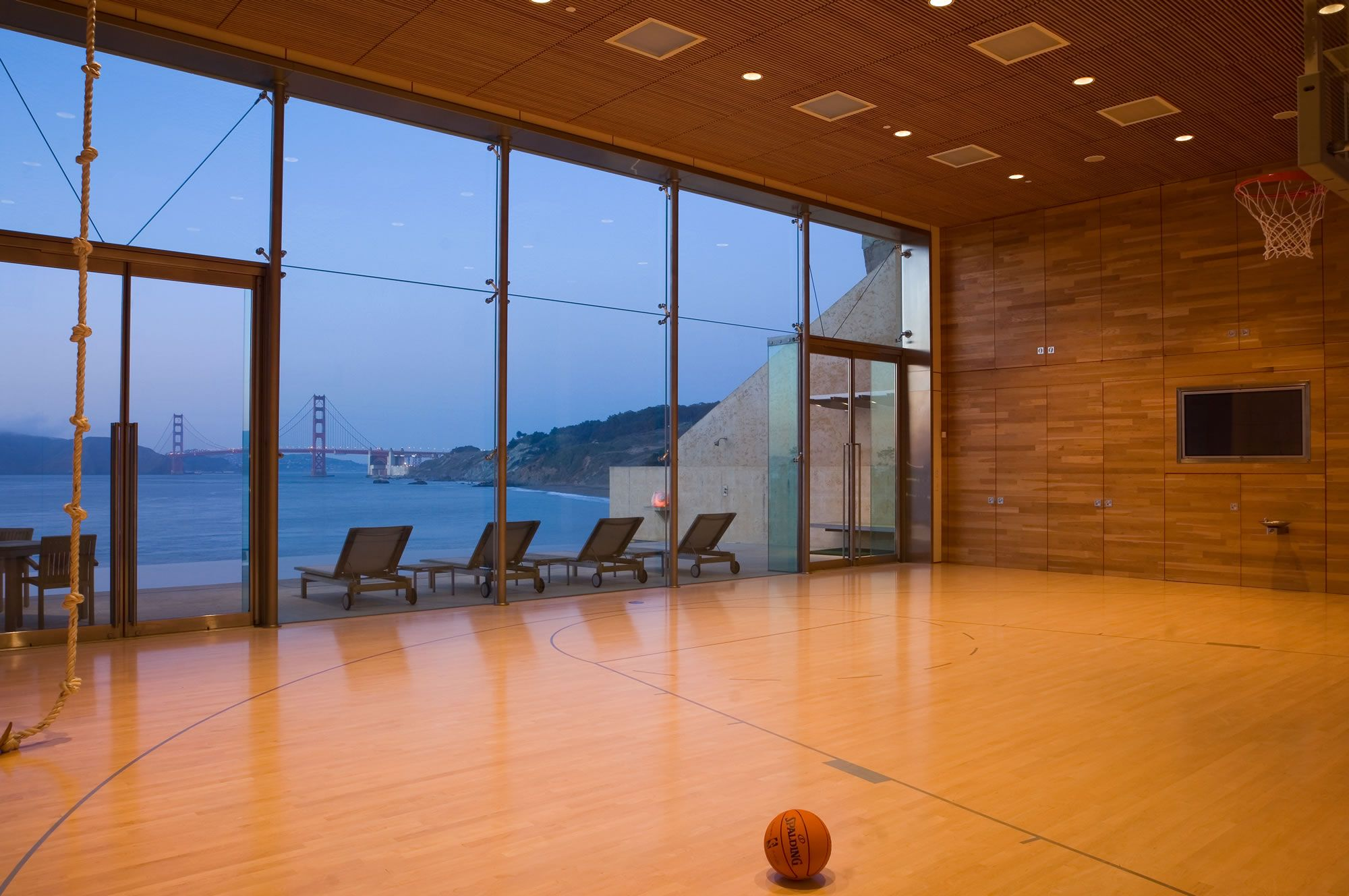 Sea cliff addition gym indoor basketball court for Basketball court at home