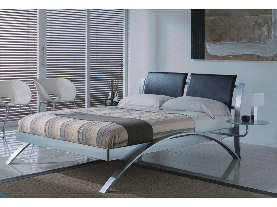 modern spain chrome queenking size platform bed - Modern King Size Bed Frame