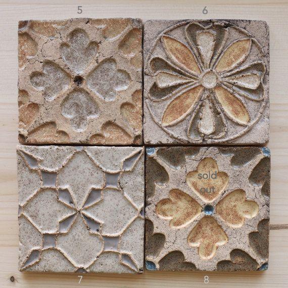 Hecho A Mano Ceramica Azulejos Rusticos Para Por Herbariumceramics - Azulejos-rusticos