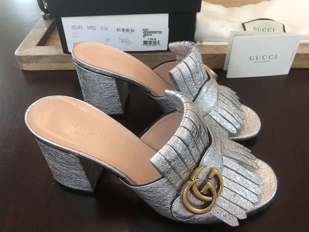 decd7c23b4d Silver Gucci Marmont Mules Size 37 Fringed Metallic Cracked Leather Mules   830  shoes  designer