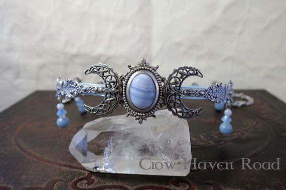 BLUE LACE AGATE Triple Moon Circlet Diadem by CrowHavenRoad