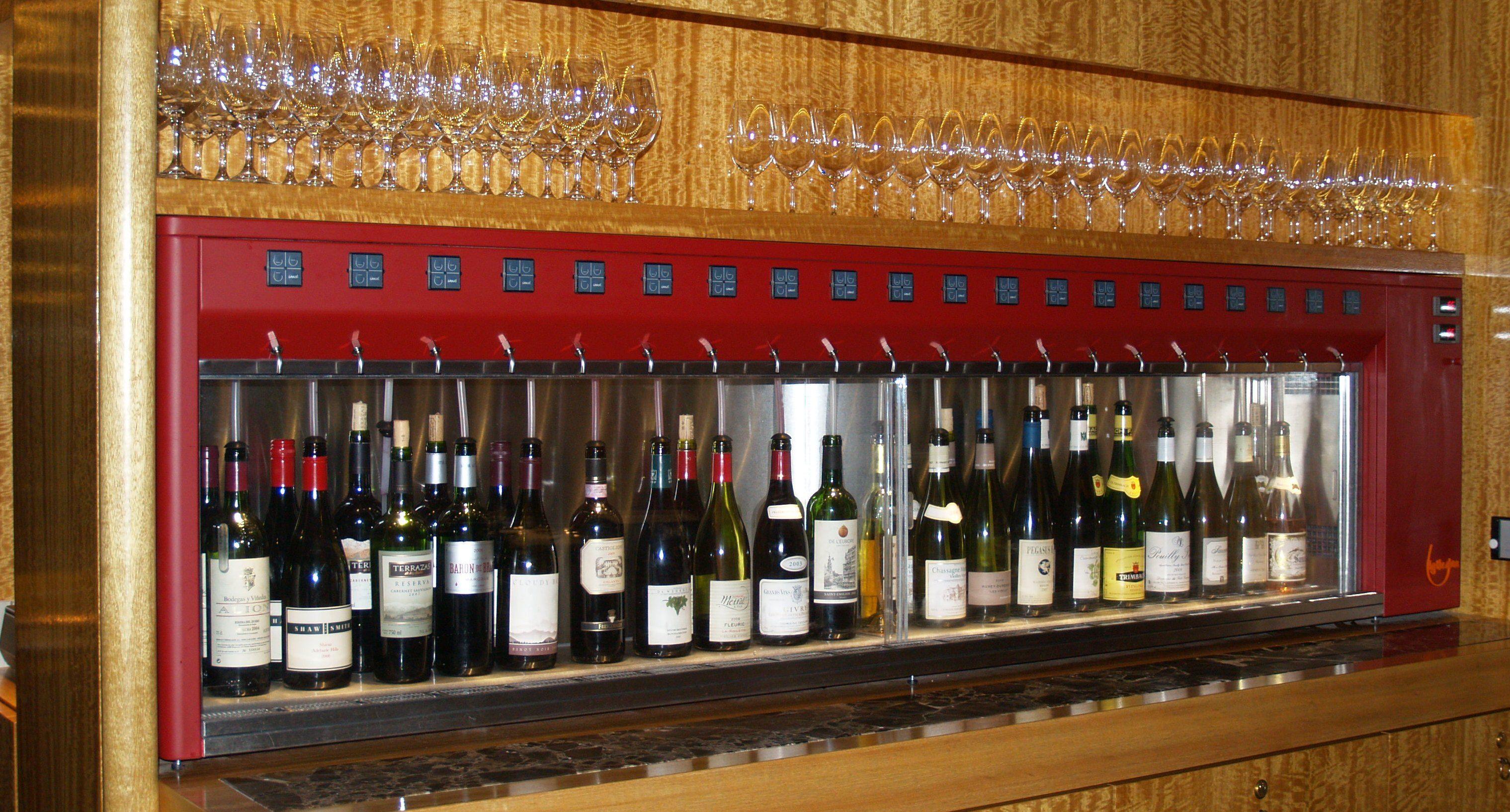 Colored Wine Dispenser 20 Bottles Hotel L Europe Amsterdam