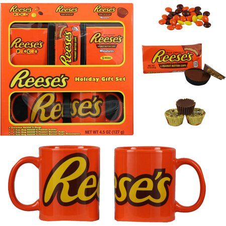 Holiday Gift Set Ceramic Travel Mug Reese/'s Peanut Butter Cups Miniatures