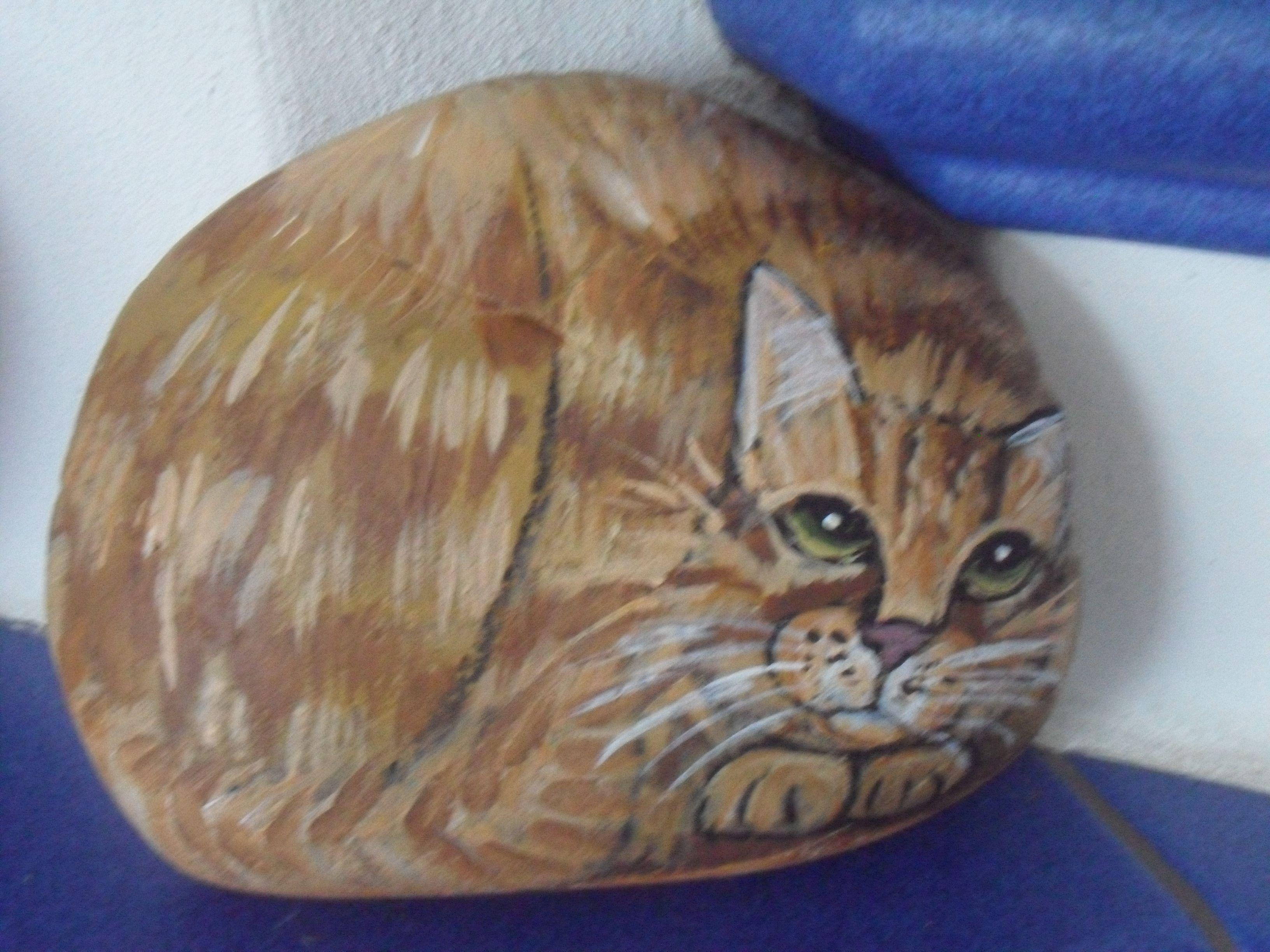 bemalter stein katze rot getigert bei ebay bemalter stein bemalte steine katzen tiere auf. Black Bedroom Furniture Sets. Home Design Ideas