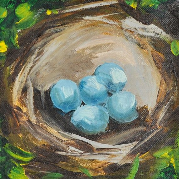 Robins Egg Nest Painting  The Perfect Gift  Gift by thePaintedSky