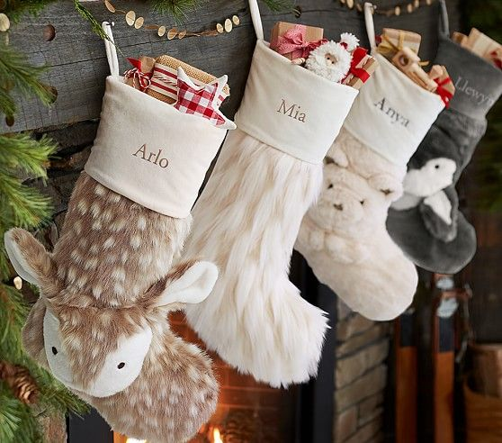 Faux Fur Stocking Collection Cute Kids Christmas Stockings Holiday Decor Ideas And Inspiration