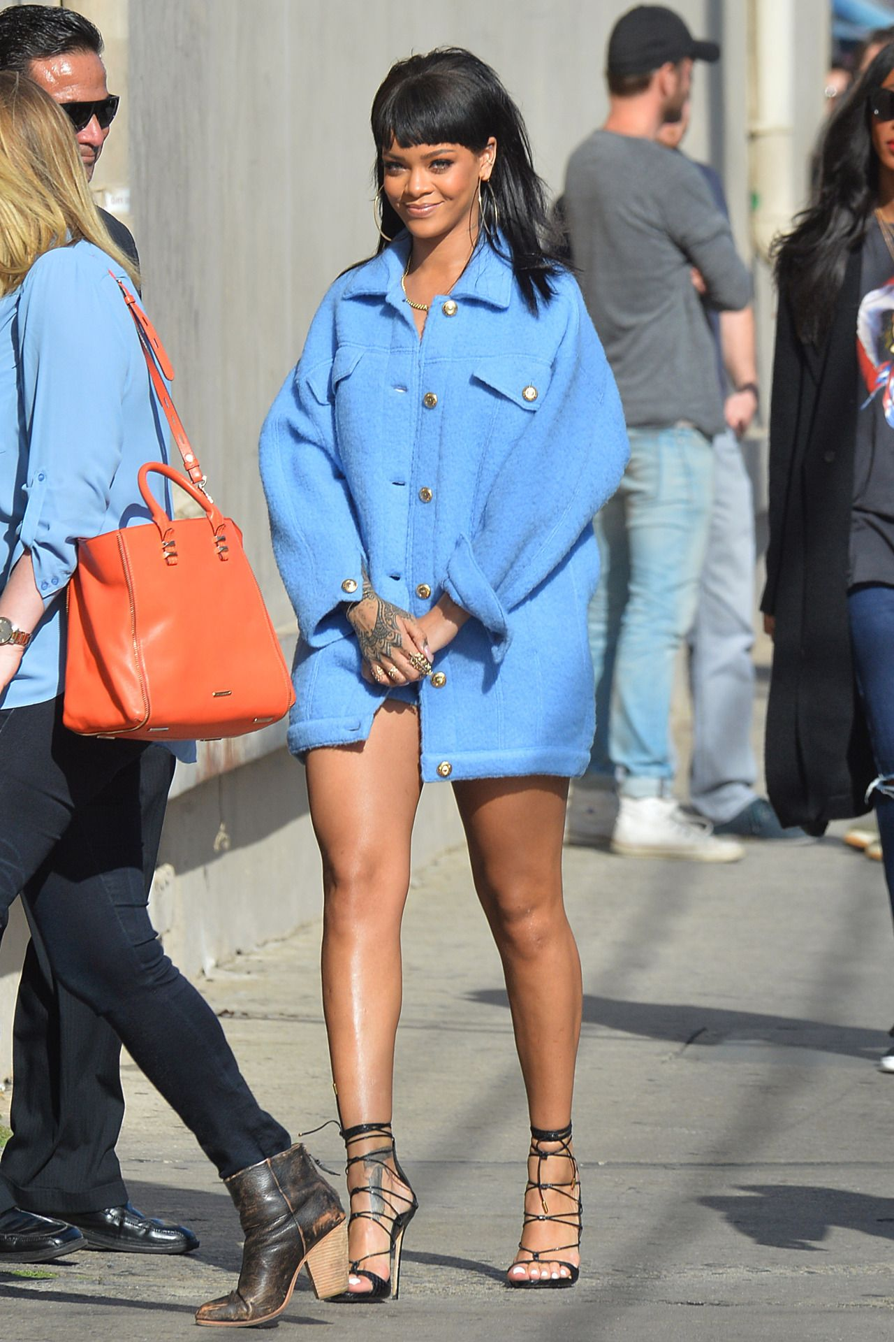 rihanna arriving at the jimmy kimmel live in los angeles