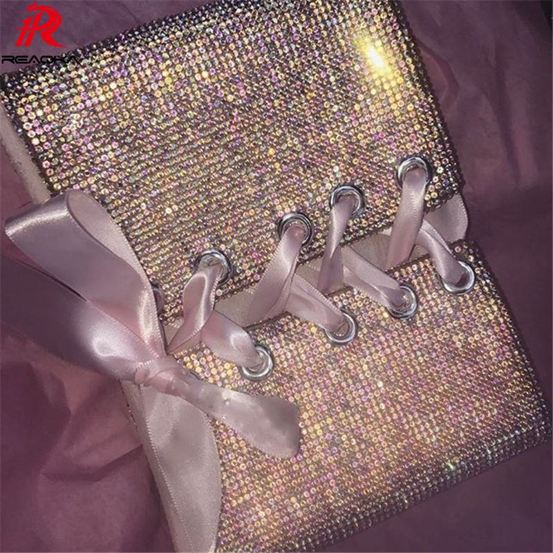 59eaf3afcac Reaqka Sexy Metal Crystal Diamond Crop top Women Bandage Party Club Halter  Camisole Bralette Glitter Sequins