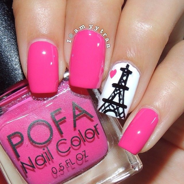Hot Pink and White Paris Inspired Nails With Eiffel Tower | Nail Art ...
