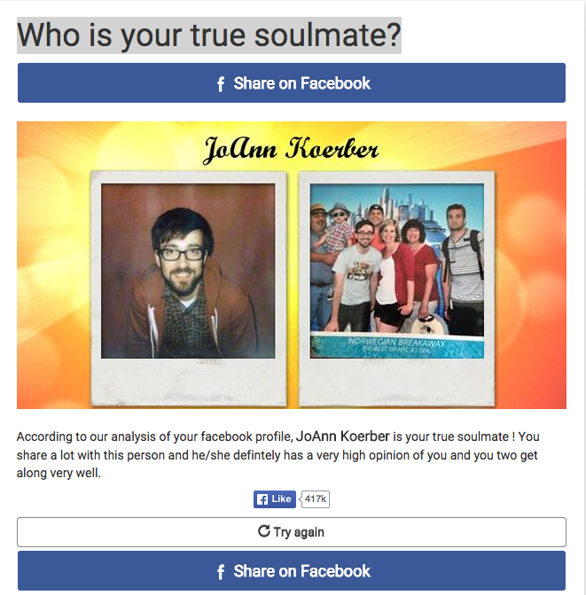 The Who Is Your True Soulmate Facebook Quiz Chose My Mom