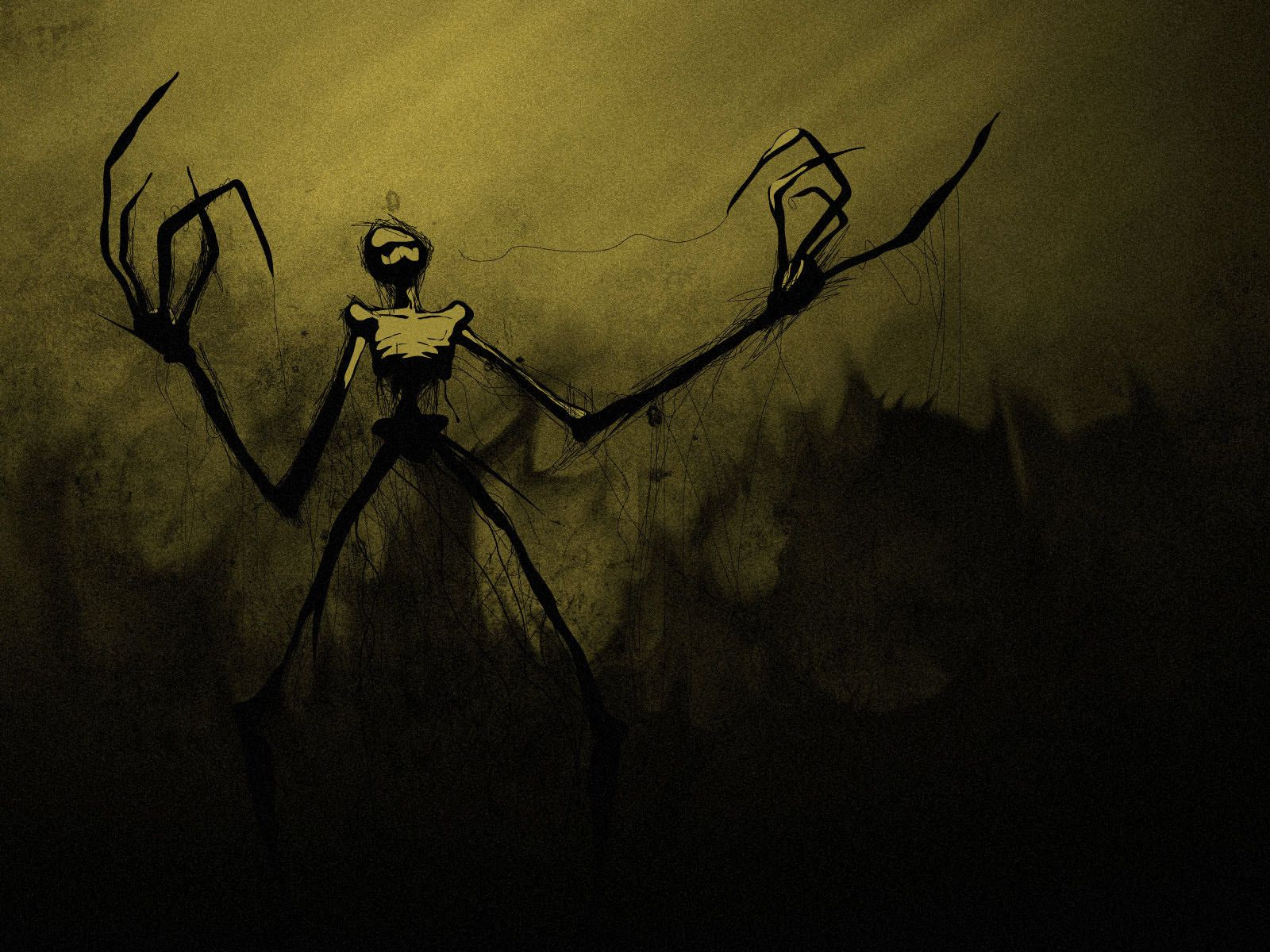 Scary Monster Wallpaper Thin With Long Arms In The Darkness