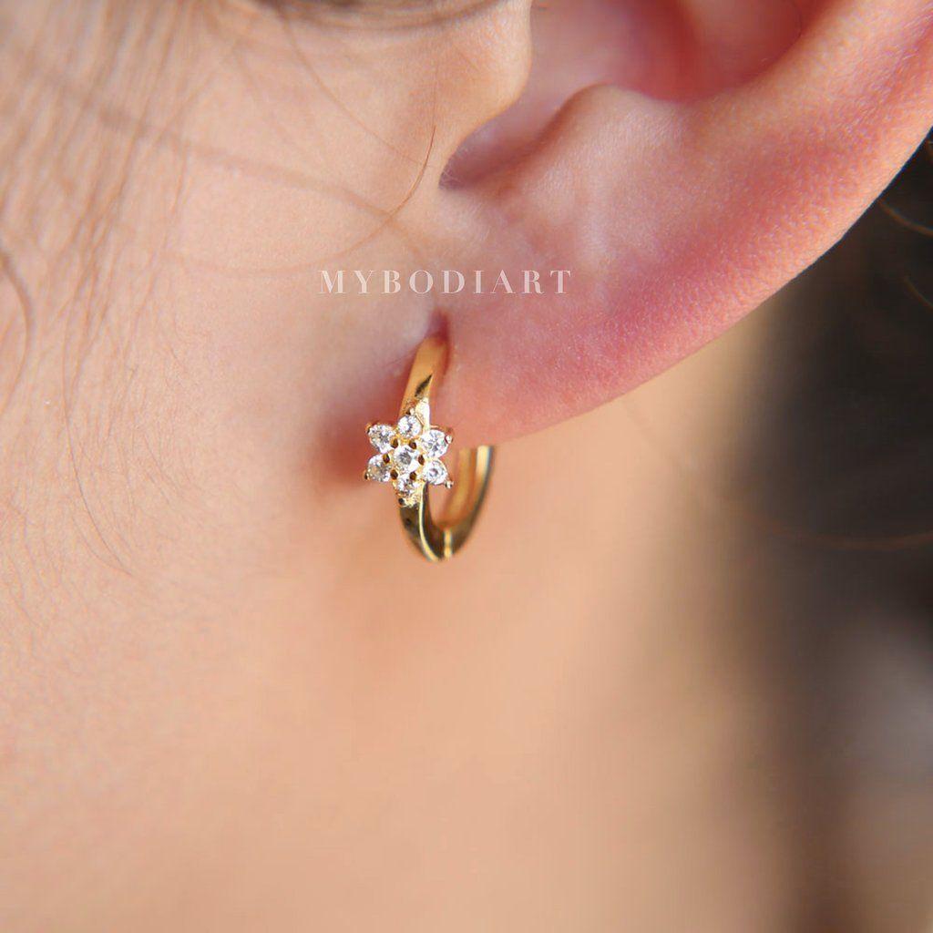 Ear piercing ideas simple  Arielle Cute Ultra Shine Crystal Flower Small Hoop Huggie Earrings