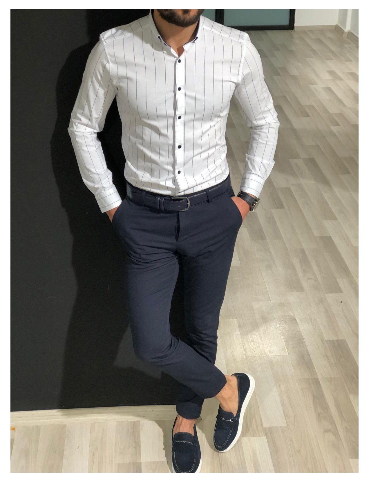 Nouveau JM BRAND Homme Indigo Double Poche Slim Fit Casual Denim Shirt