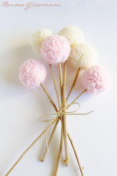 Yarn Pom Pom Flowers  Set of 6 Soft Pink and by PaintMePinkShop, $13.00