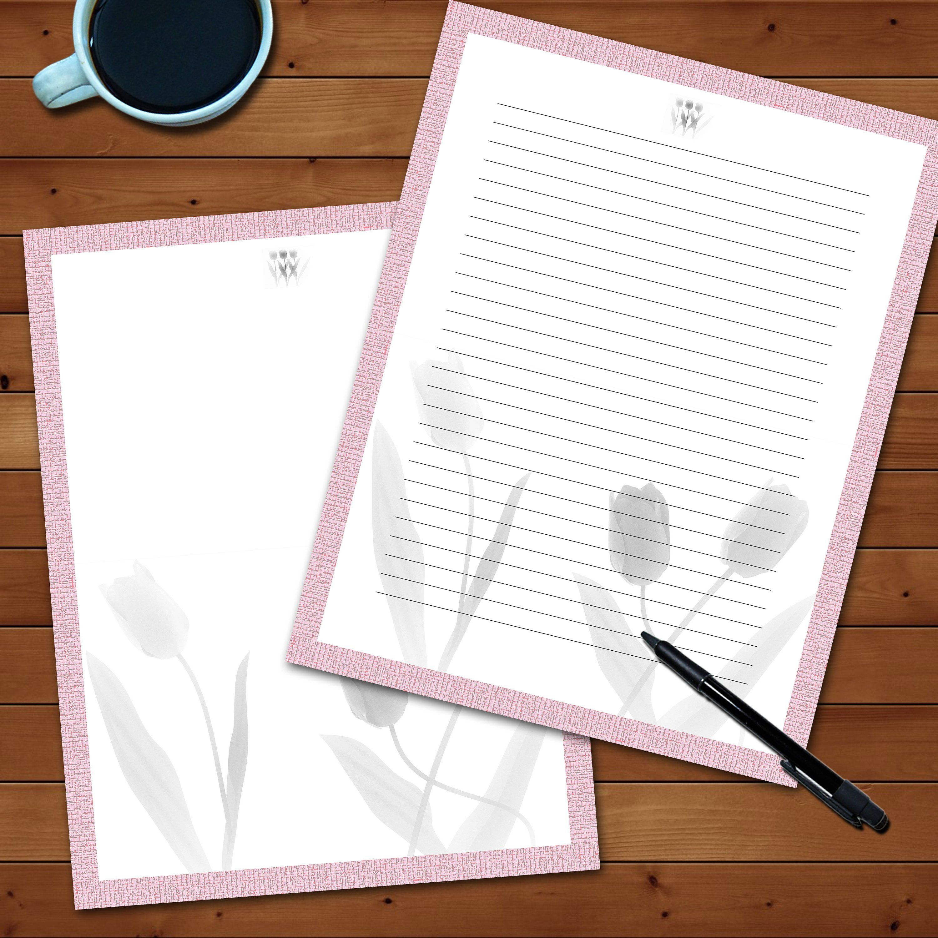 Printable Letter paper, stationery, instant download, A4