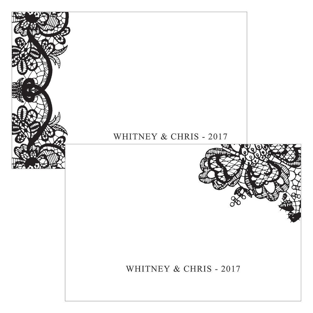 Lace Medley Assorted Flat Place Card Black (24)