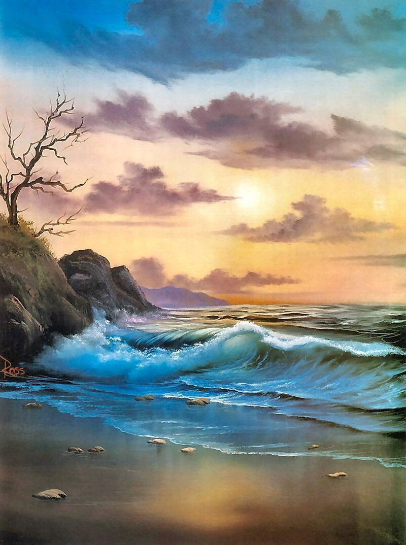By the sea bob ross painting art pinterest by the sea bob ross voltagebd Choice Image