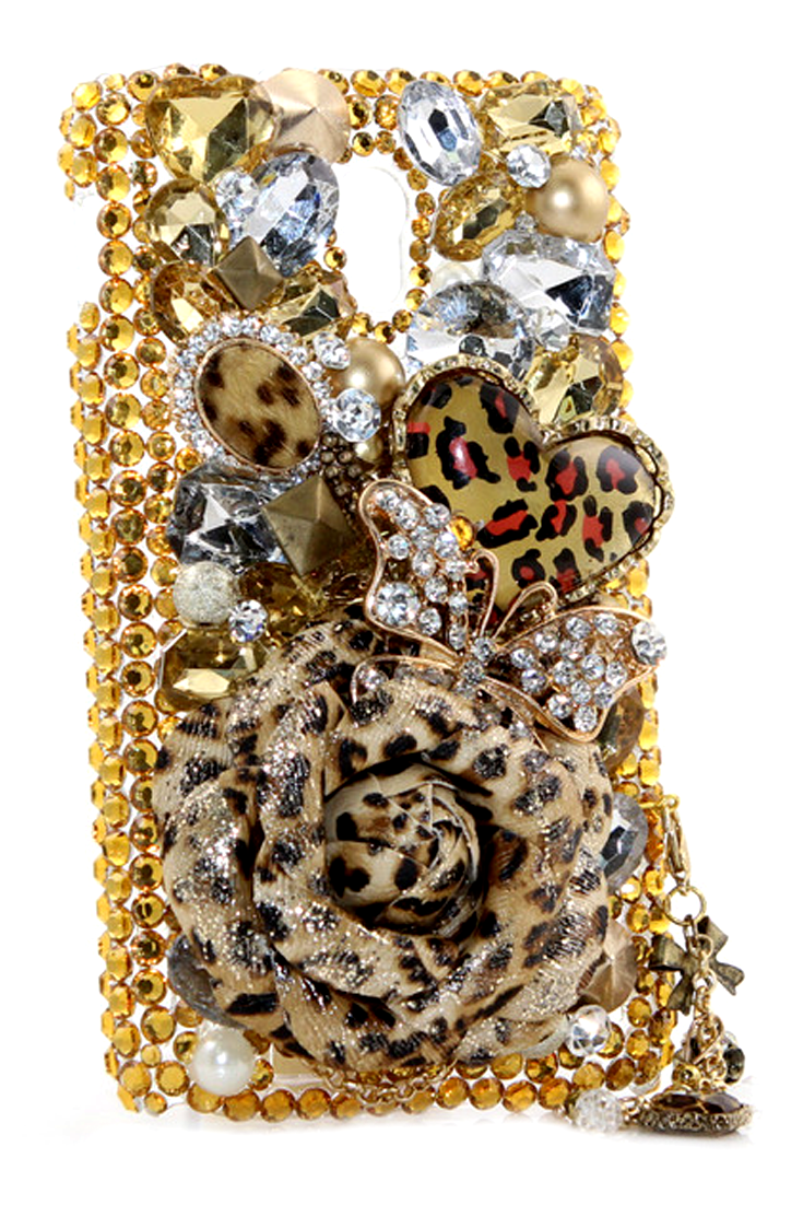 Cute Leopard Lovers Design case made for HTC ONE - Bling phone case cover  DIY for girls dc317be3dac8
