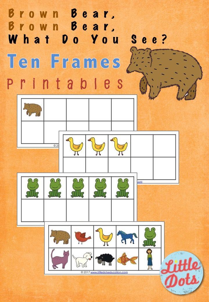 Brown Bear Brown Bear What Do You See Free Ten Frames Printable