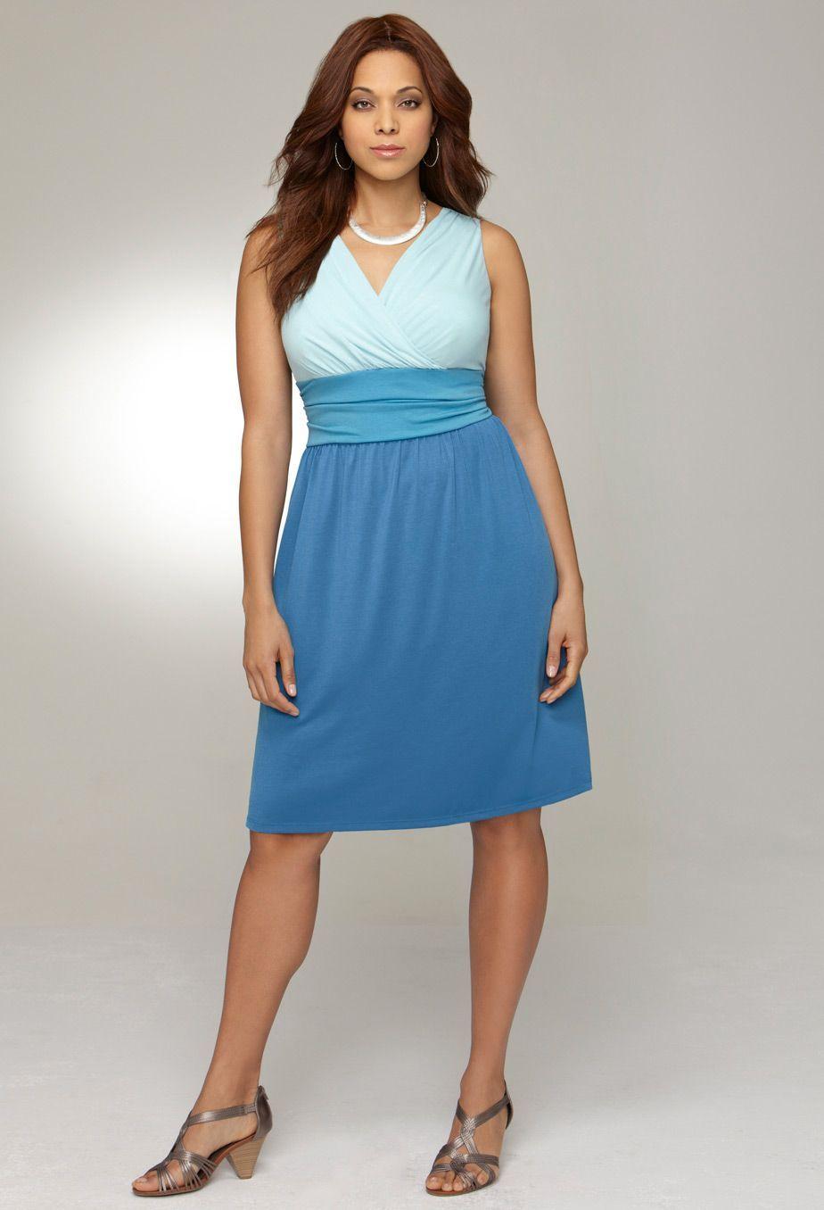 Plus Size Tonal Crossover Dress | Plus Size Casual Dresses ...