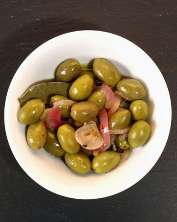 Picholine Olives with Roasted Garlic and Red Onion