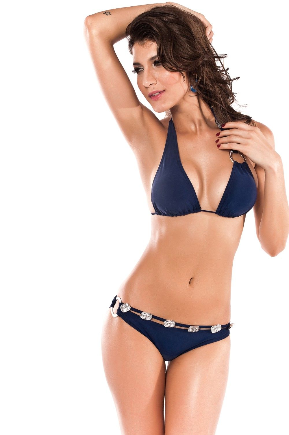 378c77b60a Hot Sexy Nylon Spandex Bikini Set Bra Swimsuit Dark Blue Metal Chain  Decoration Swimwear  13.42