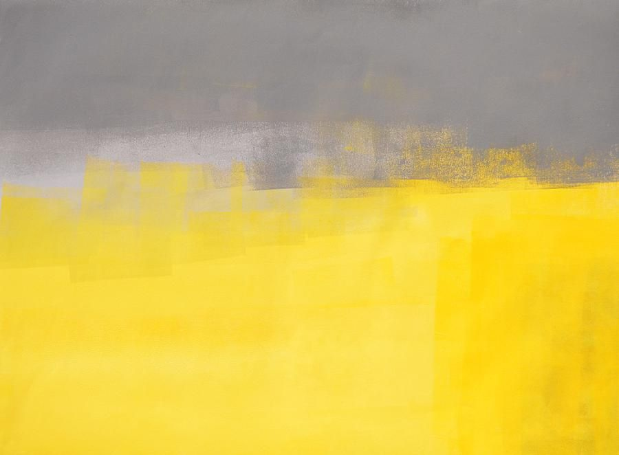 A simple abstract grey and yellow abstract art painting for Yellow gray paint colors