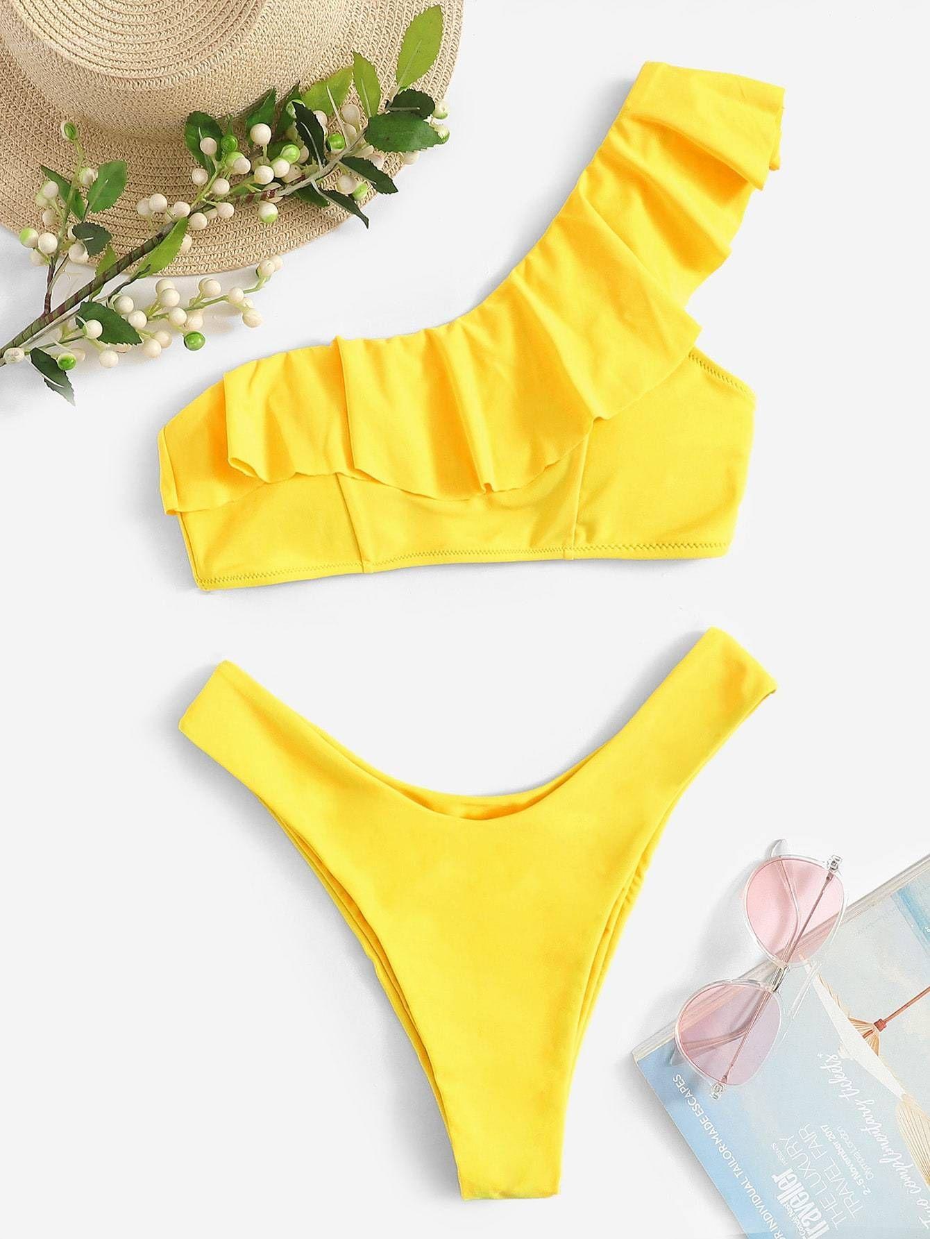 c54e7ecde733e0 Ruffle One Shoulder Top With High Cut Bikini in Yellow FREE SHIP ...