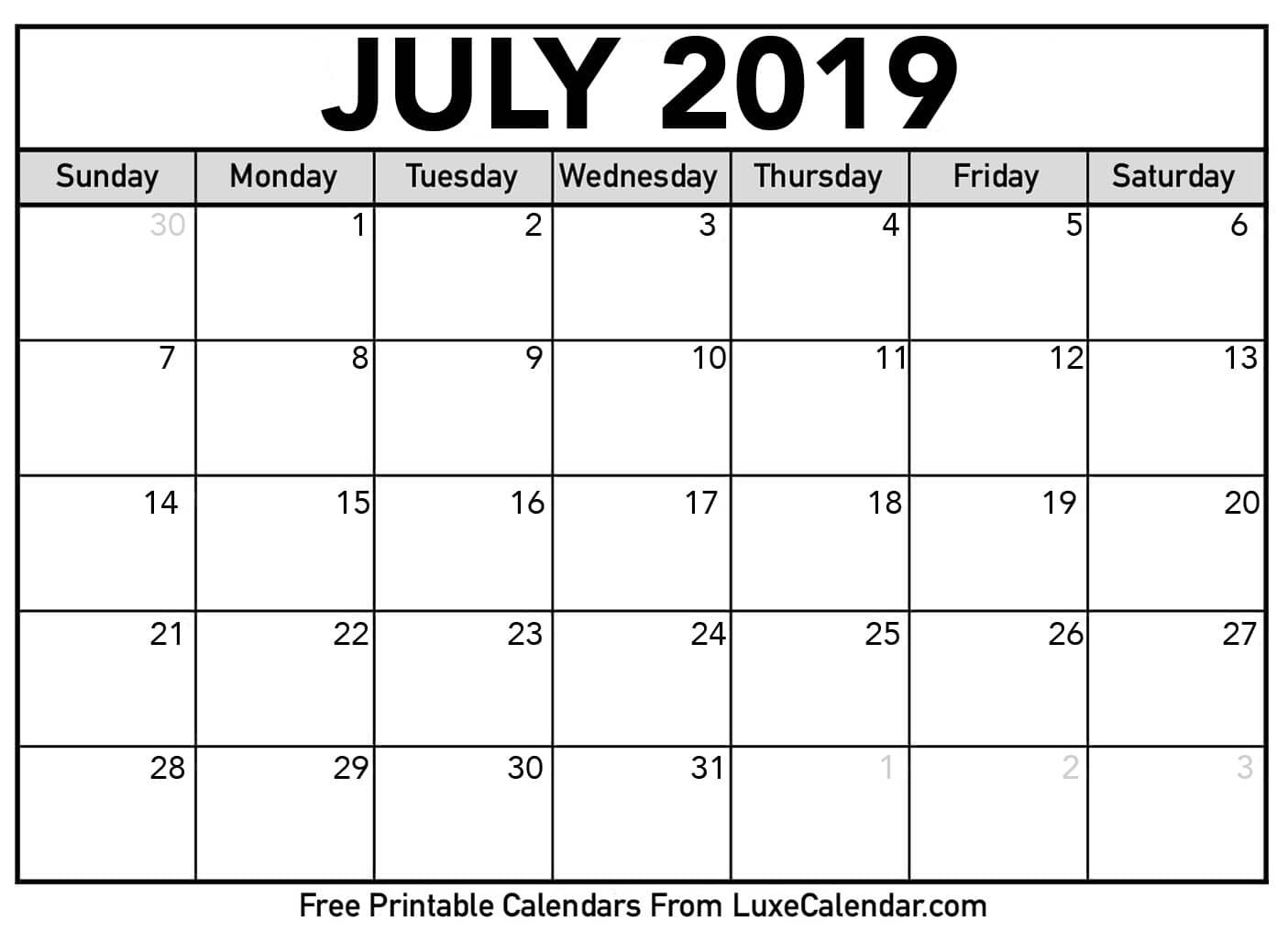 July 2019 Printable Calendars Luxe Calendar Get Check